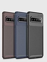 Недорогие -Кейс для Назначение SSamsung Galaxy Galaxy S10 / Galaxy S10 Plus / Galaxy S10 Lite Матовое Кейс на заднюю панель Однотонный Мягкий Углеродное волокно