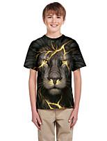 cheap -Kids Boys' Active Punk & Gothic Color Block 3D Animal Short Sleeve Tee Black