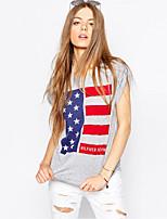 Недорогие -Взрослые Жен. Косплей Американский флаг Как у футболки Назначение Halloween На каждый день Хлопок День независимости Футболка