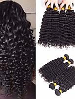 Недорогие -4 Связки Бразильские волосы Крупные кудри Не подвергавшиеся окрашиванию Человека ткет Волосы Удлинитель Пучок волос 8-28 дюймовый Естественный цвет Ткет человеческих волос / Без запаха