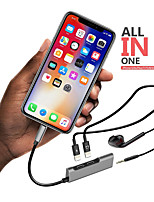 Недорогие -портативный двойной молнии адаптер разветвитель молнии до 3,5 мм для наушников адаптер для iphone 8 х
