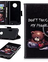 Недорогие -Кейс для Назначение Motorola MOTO G6 / Moto G6 Plus / Moto G5s Plus Бумажник для карт / со стендом / Флип Чехол Пейзаж / Животное / Мультипликация Твердый Кожа PU / Настоящая кожа / Мото G5 Plus
