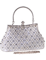 cheap -Women's Crystals / Pearls Polyester Evening Bag Solid Color Black / White / Champagne
