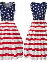 Недорогие -Взрослые Жен. Косплей Американский флаг Платья Косплэй Kостюмы Назначение Halloween На каждый день Хлопок День независимости Платье