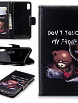Недорогие -Кейс для Назначение Apple iPhone XS / iPhone XR / iPhone XS Max Бумажник для карт / со стендом / Флип Чехол Пейзаж / Животное / Мультипликация Твердый Кожа PU / Настоящая кожа