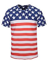 Недорогие -Взрослые Муж. Косплей Американский флаг Косплэй Kостюмы Как у футболки Назначение Halloween На каждый день Хлопок День независимости Футболка