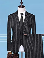 cheap -Tuxedos Standard Fit Notch Single Breasted One-button Cotton Blend Striped
