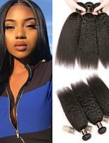 Недорогие -3 Связки Бразильские волосы Естественные прямые 100% Remy Hair Weave Bundles Человека ткет Волосы Пучок волос One Pack Solution 8-28 дюймовый Естественный цвет Ткет человеческих волос / Без запаха