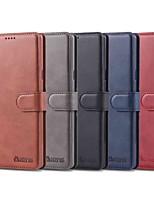 Недорогие -Кейс для Назначение SSamsung Galaxy Note 9 / Note 8 Кошелек / Бумажник для карт / Защита от удара Чехол Однотонный Твердый Кожа PU