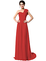 cheap -A-Line Elegant Floral Wedding Guest Formal Evening Dress One Shoulder Sleeveless Court Train Chiffon with Pleats Ruched 2020