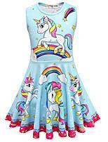 Недорогие -Дети Девочки Милая Симпатичные Стиль Unicorn Галактика Мультипликация Без рукавов До колена Платье Розовый
