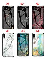 Недорогие -чехол для apple iphone xs max / iphone 8 plus pattern / противоударная задняя крышка из мрамора закаленное стекло для iphone 7/7 plus / 8/6/6 plus / xr / x / xs