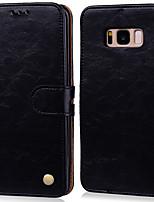 Недорогие -Кейс для Назначение SSamsung Galaxy S8 Plus Бумажник для карт / Флип Чехол Однотонный Твердый Кожа PU