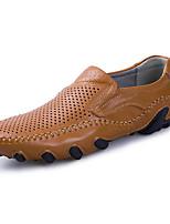 Недорогие -Муж. Комфортная обувь Кожа Весна лето Деловые / На каждый день Мокасины и Свитер Дышащий Черный / Желтый / Вино