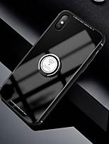 Недорогие -Кейс для Назначение Apple iPhone XR / iPhone XS Max / iPhone X Кольца-держатели Кейс на заднюю панель Однотонный Твердый Закаленное стекло
