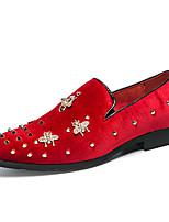 Недорогие -Муж. Официальная обувь Кожа Весна лето / Наступила зима Английский Мокасины и Свитер Нескользкий Черный / Красный