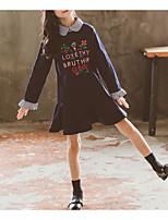 Недорогие -Дети Девочки Активный Классический Цветочный принт Оборки Длинный рукав Выше колена Платье Белый / Хлопок