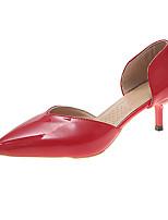 Недорогие -Жен. Обувь на каблуках Балетки На шпильке Полиуретан На каждый день Лето Черный / Бежевый / Красный