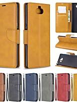 Недорогие -Кейс для Назначение Sony Sony Xperia L3 / Sony Xperia 10 / Sony Xperia 10 Plus Кошелек / Защита от удара / со стендом Чехол Однотонный Твердый Кожа PU