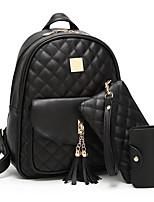 cheap -Women's Tassel Polyester / PU Bag Set Solid Color 3 Pcs Purse Set Black