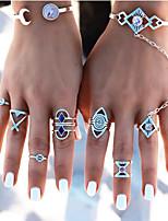 Недорогие -Жен. Цирконий Ring Set европейский Модные кольца Бижутерия Серебряный Назначение Свадьба 8шт