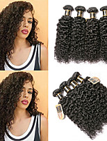 Недорогие -6 Связок Бразильские волосы Kinky Curly Необработанные натуральные волосы Человека ткет Волосы Пучок волос One Pack Solution 8-28 дюймовый Естественный цвет Ткет человеческих волос / Без запаха