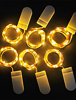 Недорогие -Loende 6 шт. светодиодные фонари cr2032 кнопки с батарейным питанием 1 м 10led светодиодные струны свет гирлянды Рождество свадьба рождественские украшения