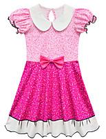 Недорогие -Дети Девочки Классический Симпатичные Стиль Пэчворк Бант С короткими рукавами До колена Платье Желтый