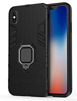 Недорогие -Кейс для Назначение Apple iPhone XS / iPhone XR / iPhone X Кольца-держатели Кейс на заднюю панель Однотонный / броня Твердый ТПУ / ПК