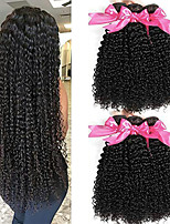 Недорогие -6 Связок Малазийские волосы Kinky Curly Необработанные натуральные волосы Головные уборы Человека ткет Волосы Удлинитель 8-28 дюймовый Естественный цвет Ткет человеческих волос / Без запаха
