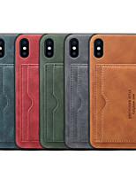 Недорогие -чехол для яблока iphone xs max / iphone 8 plus с подставкой / противоударный / держатель карты задняя крышка сплошная мягкая искусственная кожа для iphone 7/7 plus / 8/6/6 plus / xr / x / xs