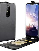 Недорогие -Кейс для Назначение Nokia Nokia 9 PureView / Nokia 7.1 / Nokia 6.1 Plus Бумажник для карт / Флип Чехол Однотонный Твердый Кожа PU
