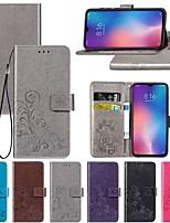 Недорогие -Кейс для Назначение Xiaomi Xiaomi Pocophone F1 / Xiaomi Mi Play / Xiaomi Mi Max 3 Кошелек / со стендом / Флип Чехол Однотонный / Бабочка / Цветы Твердый Кожа PU