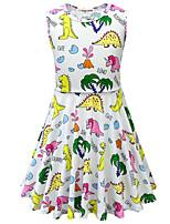 Недорогие -Дети Девочки Активный Симпатичные Стиль Динозавр Растения Мультипликация Без рукавов До колена Платье Лиловый
