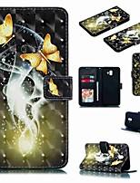 Недорогие -Кейс для Назначение SSamsung Galaxy J7 (2017) / J7 (2018) / J6 (2018) Кошелек / Бумажник для карт / Защита от удара Чехол Бабочка / Мультипликация Твердый Кожа PU