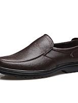 Недорогие -Муж. Кожаные ботинки Кожа Весна лето На каждый день Мокасины и Свитер Нескользкий Черный / Коричневый