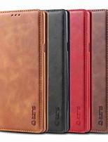 Недорогие -Кейс для Назначение SSamsung Galaxy Note 9 / Note 5 Бумажник для карт / Защита от удара / со стендом Чехол Однотонный Твердый Кожа PU