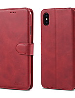 Недорогие -Кейс для Назначение Apple iPhone XS / iPhone XR / iPhone XS Max Кошелек / Бумажник для карт / со стендом Кейс на заднюю панель Однотонный Твердый Настоящая кожа