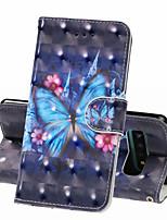 Недорогие -Кейс для Назначение SSamsung Galaxy S9 / S9 Plus / Galaxy S10 Кошелек / Бумажник для карт / Защита от удара Чехол Бабочка Твердый Кожа PU
