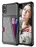 Недорогие -Кейс для Назначение Apple iPhone XS / iPhone XR / iPhone XS Max Бумажник для карт / Защита от удара / Сияние и блеск Кейс на заднюю панель Однотонный / Сияние и блеск Твердый Кожа PU