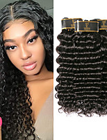 Недорогие -3 Связки Перуанские волосы Крупные кудри 100% Remy Hair Weave Bundles Человека ткет Волосы One Pack Solution Накладки из натуральных волос 8-28 дюймовый Естественный цвет Ткет человеческих волос