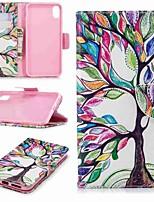 Недорогие -Кейс для Назначение Apple iPhone XS / iPhone XR / iPhone XS Max Кошелек / Бумажник для карт / со стендом Чехол дерево Твердый Кожа PU