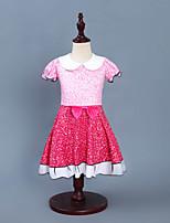 Недорогие -Дети Дети (1-4 лет) Девочки Активный Уличный стиль Пэчворк Без рукавов Выше колена Платье Розовый