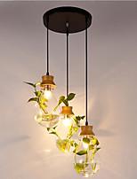 Недорогие -3-Light геометрический Подвесные лампы Рассеянное освещение Окрашенные отделки Дерево / бамбук Стекло 110-120Вольт / 220-240Вольт