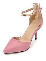 Недорогие -Жен. Обувь на каблуках Британский стиль плед обувь На шпильке Заостренный носок Стразы / Пряжки Синтетика Классика / Английский Весна лето Пурпурный / Красный / Розовый / Для вечеринки / ужина