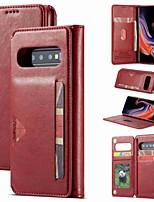 Недорогие -Кейс для Назначение SSamsung Galaxy S9 / S9 Plus / Galaxy S10 Кошелек / Бумажник для карт / Защита от удара Чехол Однотонный Твердый Кожа PU