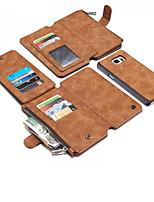Недорогие -Кейс для Назначение SSamsung Galaxy Note 8 / Note 5 Кошелек / Бумажник для карт / Защита от удара Кейс на заднюю панель Однотонный Твердый Настоящая кожа