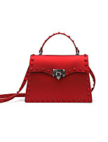 cheap -Women's Rivet Polyester / PU Top Handle Bag Solid Color Black / Gold / Red