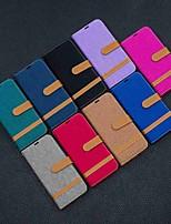 Недорогие -Кейс для Назначение Huawei Huawei nova 4e / Honor 10 Lite / Честь 10i Кошелек / Бумажник для карт / со стендом Чехол Плитка Твердый текстильный