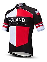 Недорогие -21Grams Польша Флаги Муж. С короткими рукавами Велокофты - Красный / Белый Велоспорт Верхняя часть Устойчивость к УФ Дышащий Влагоотводящие Виды спорта Терилен Горные велосипеды Шоссейные велосипеды